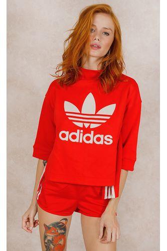 Shorts-Adidas-Regular-3-Stripes-Vermelho