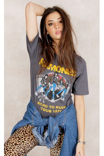 T---Shirt-Ramones-Road-To-Run-Cinza-