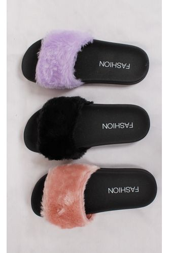 Chinelo-Slide-Fluffy-Preto