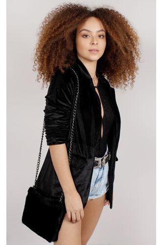 Blazer-Oversized-Velvet-Fashion-Preto
