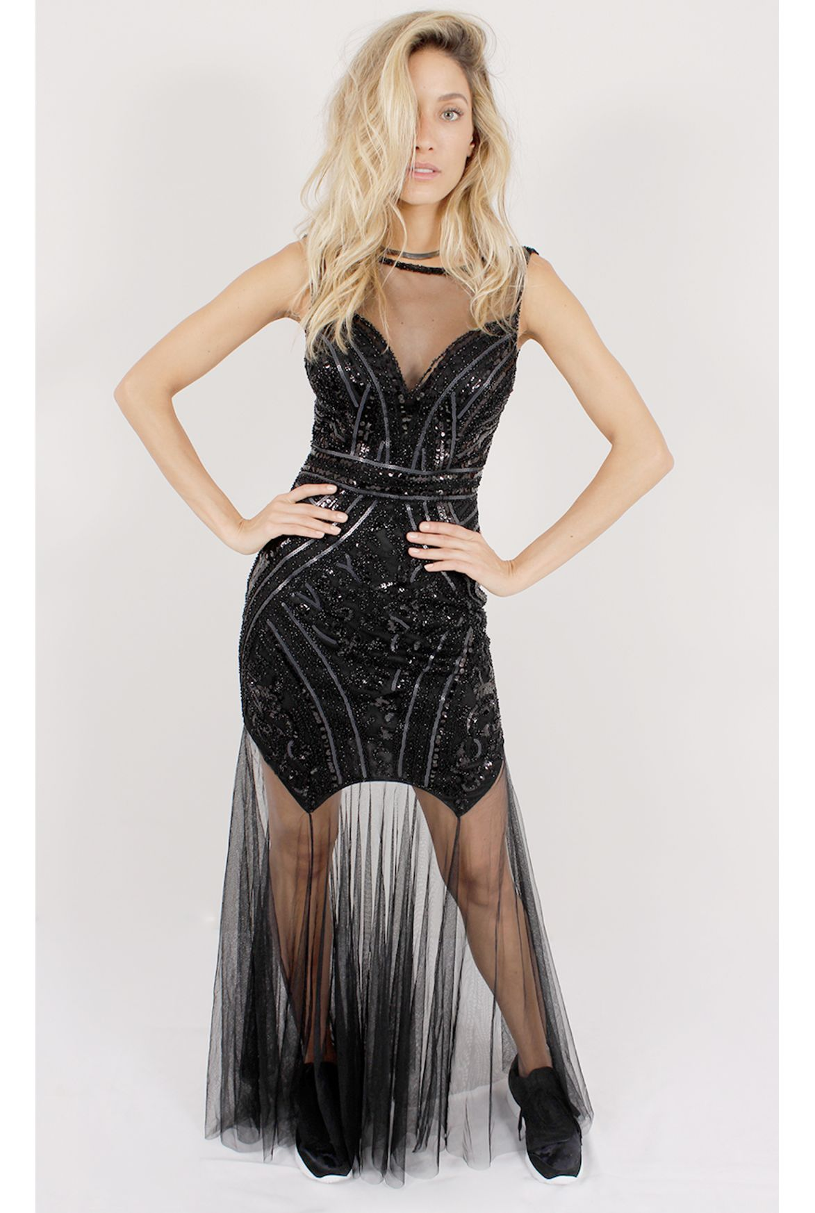 a901e65d58 FSHN vestido longo party lady com paetê preto - Fashion Closet