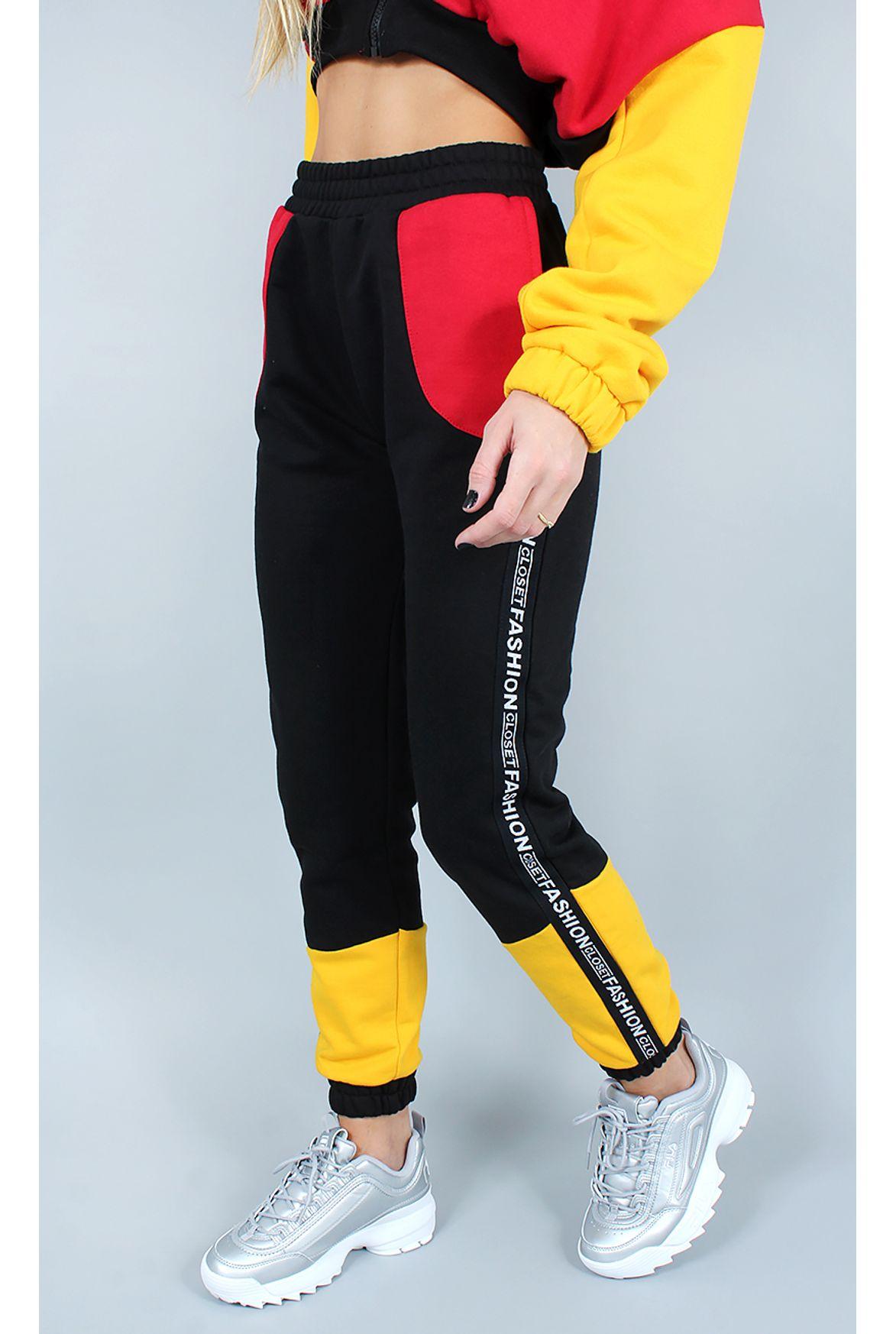 793836b1174 FSHN calça moletom fashion colors preto - Fashion Closet