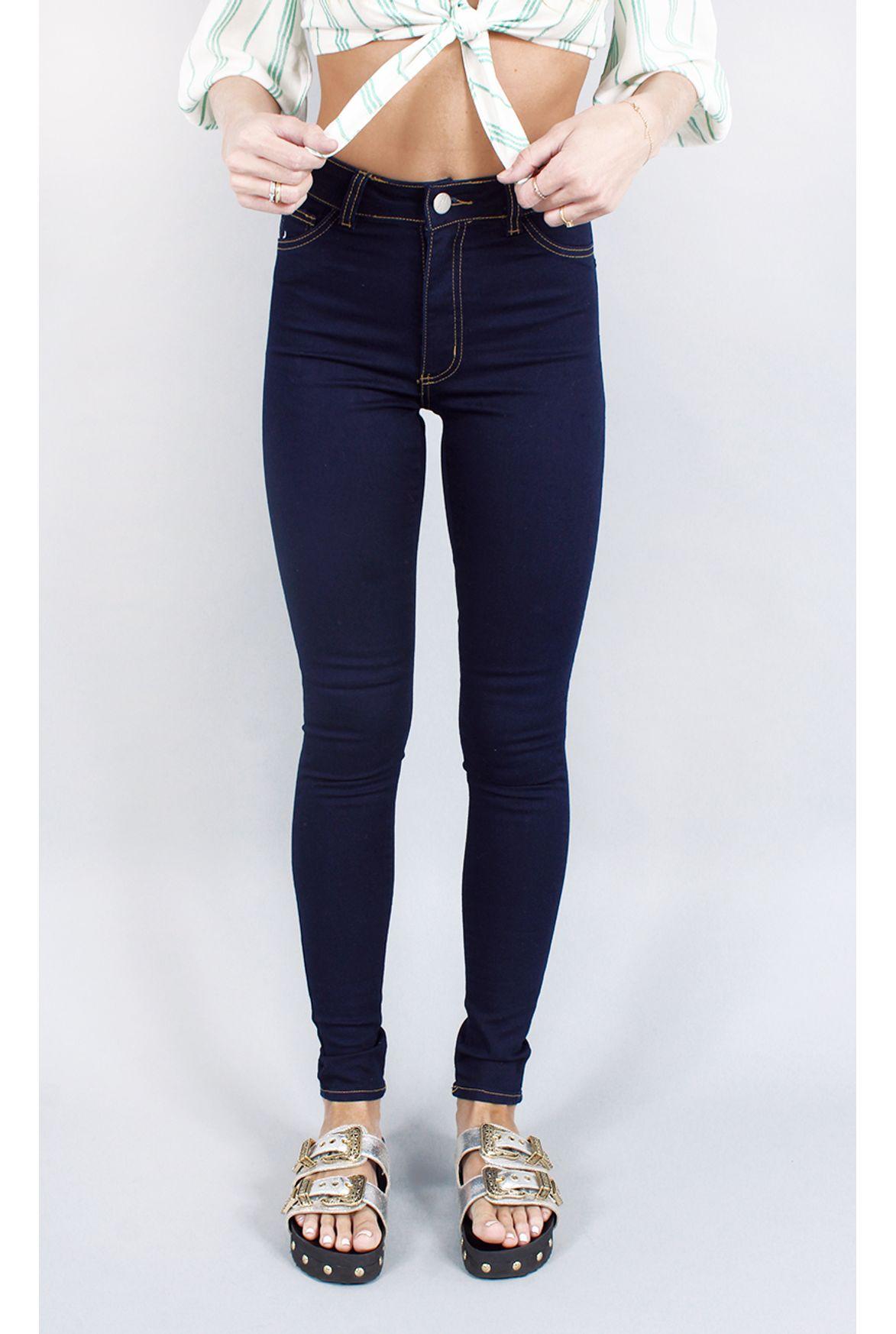 9fa6c173b11 FSHN calça cintura alta dark jeans azul - Fashion Closet
