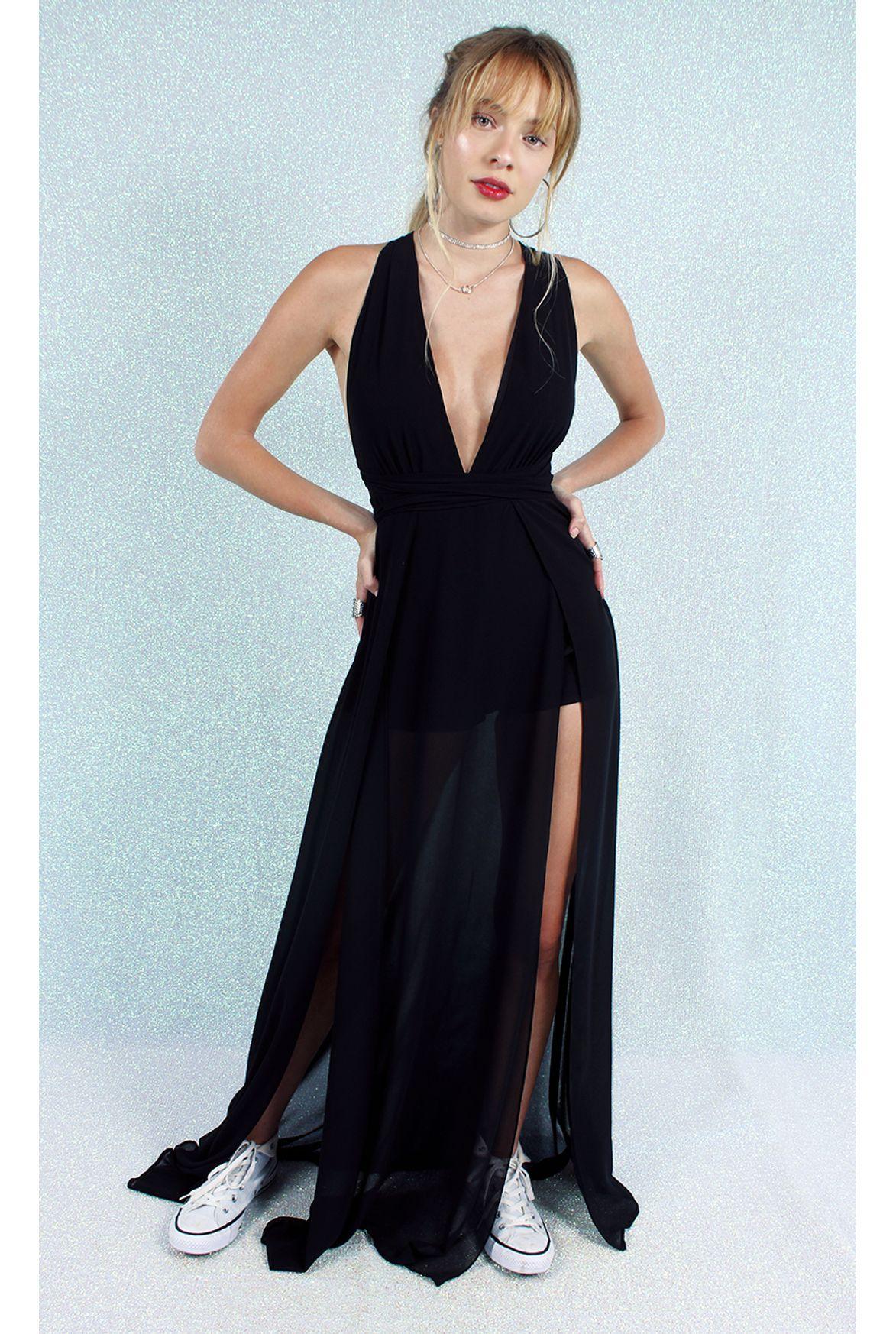 Fshn Vestido Sara Longo W Fendas Preto Fashion Closet