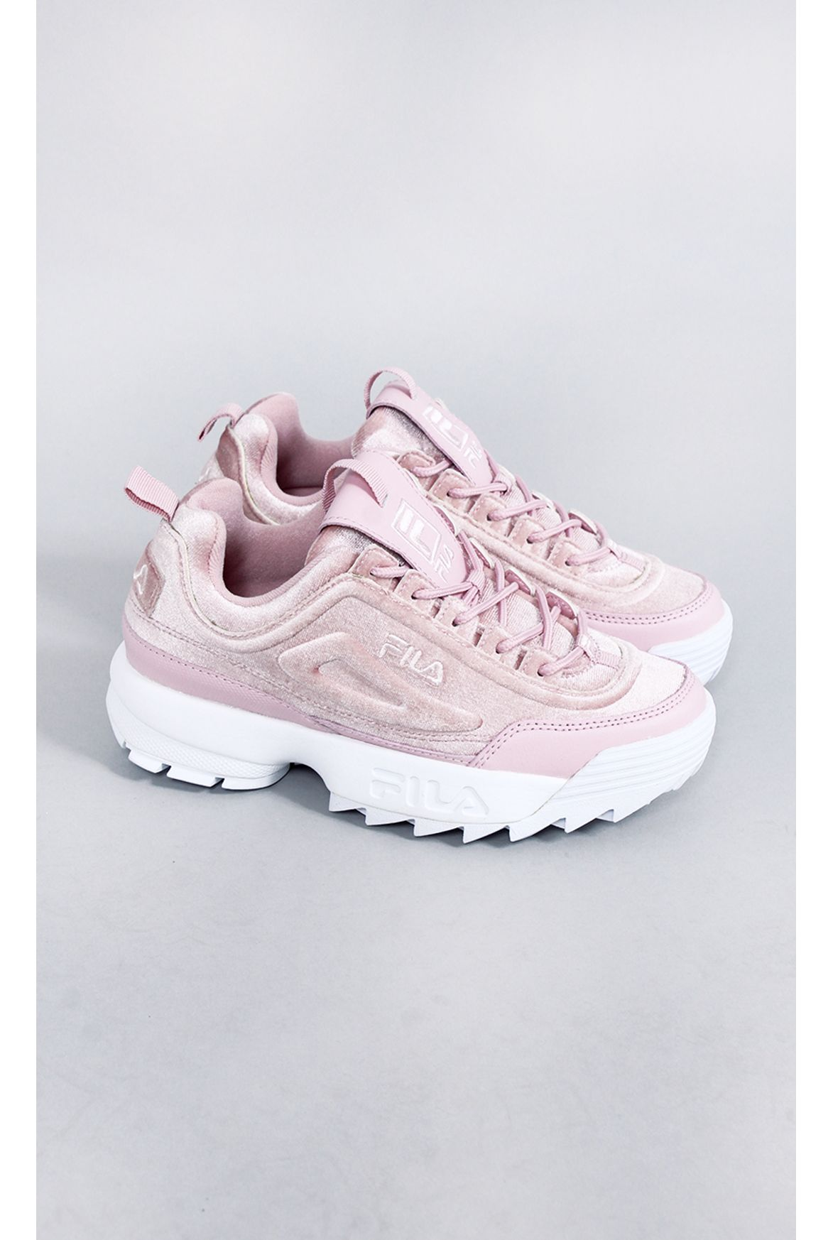1bec687c025 FSHN tênis fila disruptor II premium velour rosa - Fashion Closet