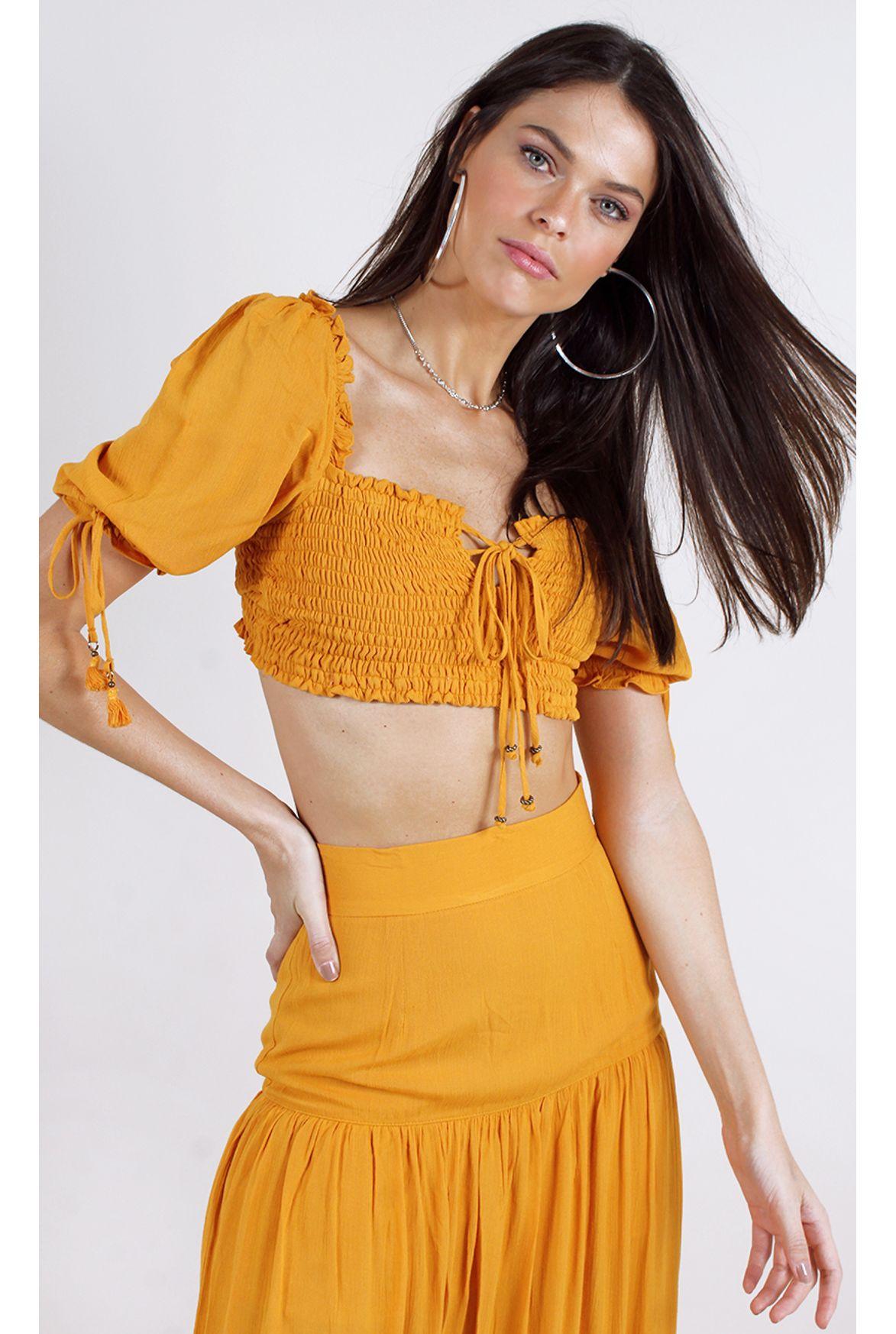 9b5e1d22c FSHN cropped agatha ombro a ombro mostarda - Fashion Closet