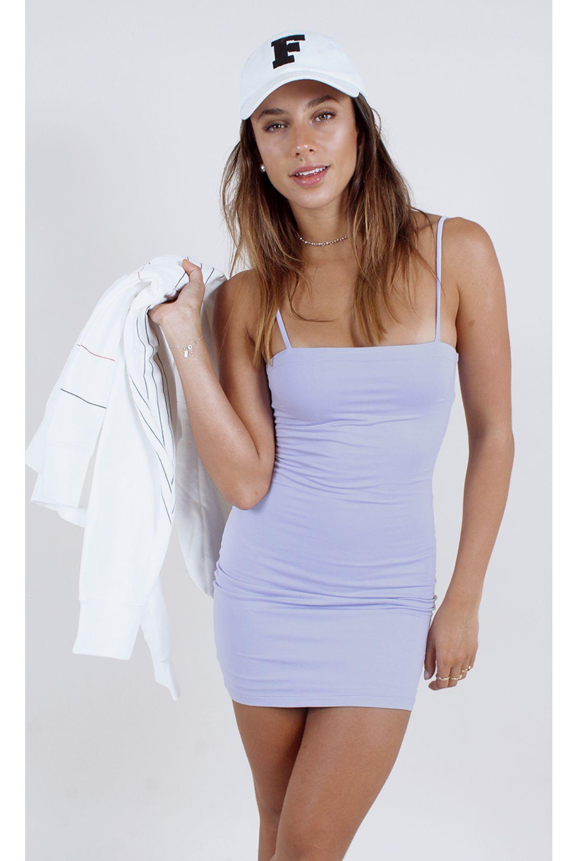 403257ee0f FSHN - vestido sunshine decote reto lilás - Fashion Closet