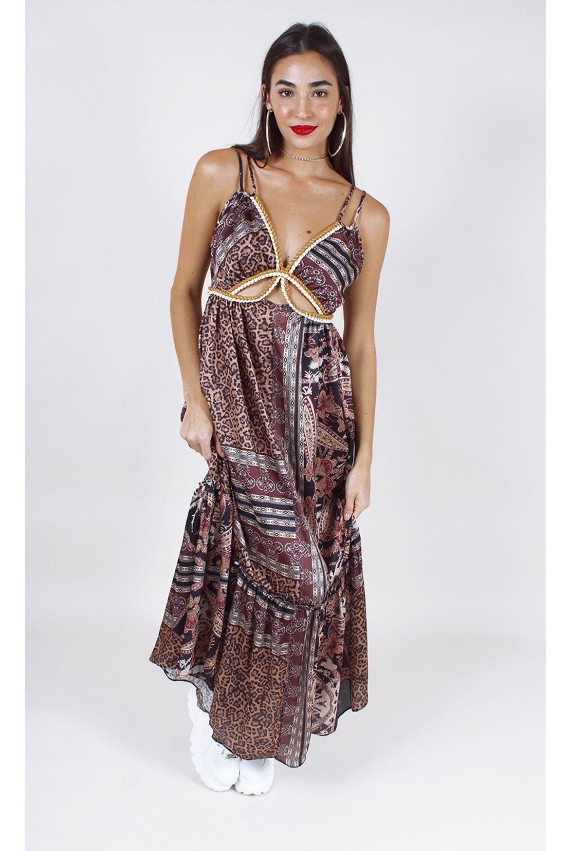 d1852f68033 FSHN - vestido mayra longo w/ recortes marrom - Fashion Closet