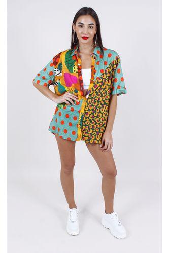 camisa farm patch tropical estampa