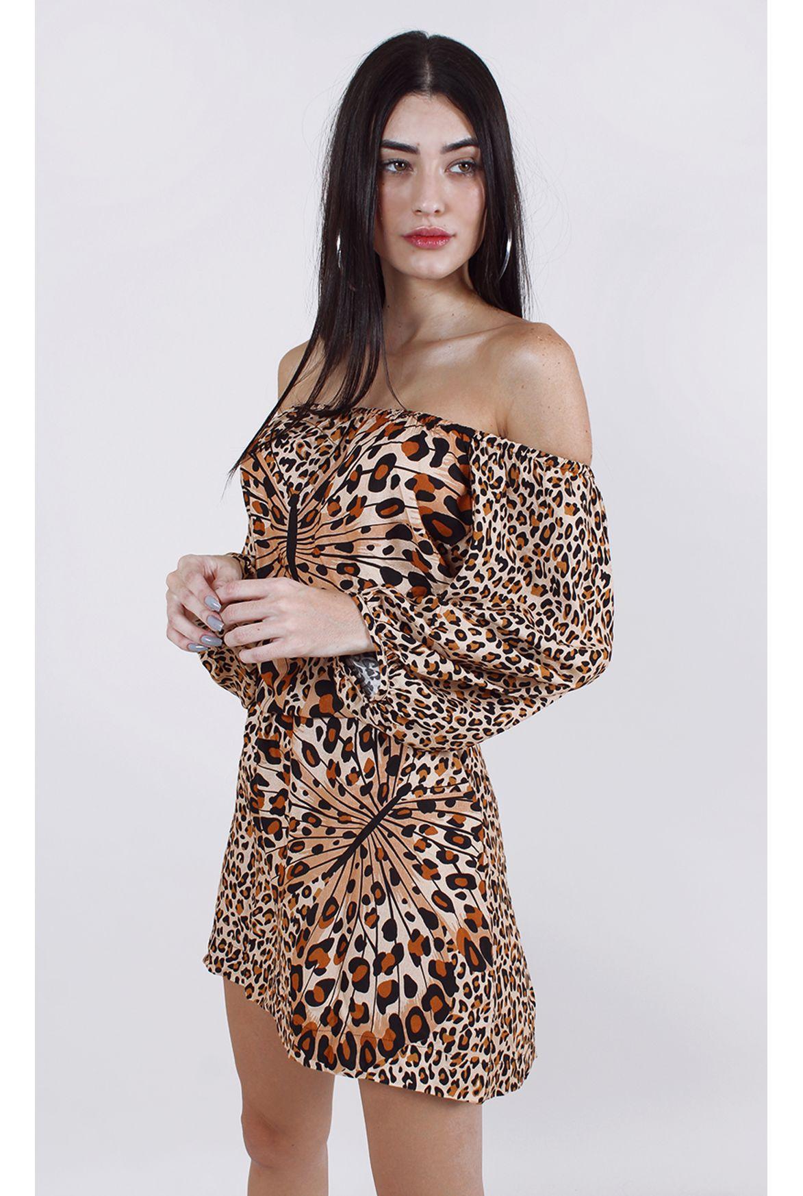 Fshn Vestido Farm Curto Borboleta Marrom Fashion Closet