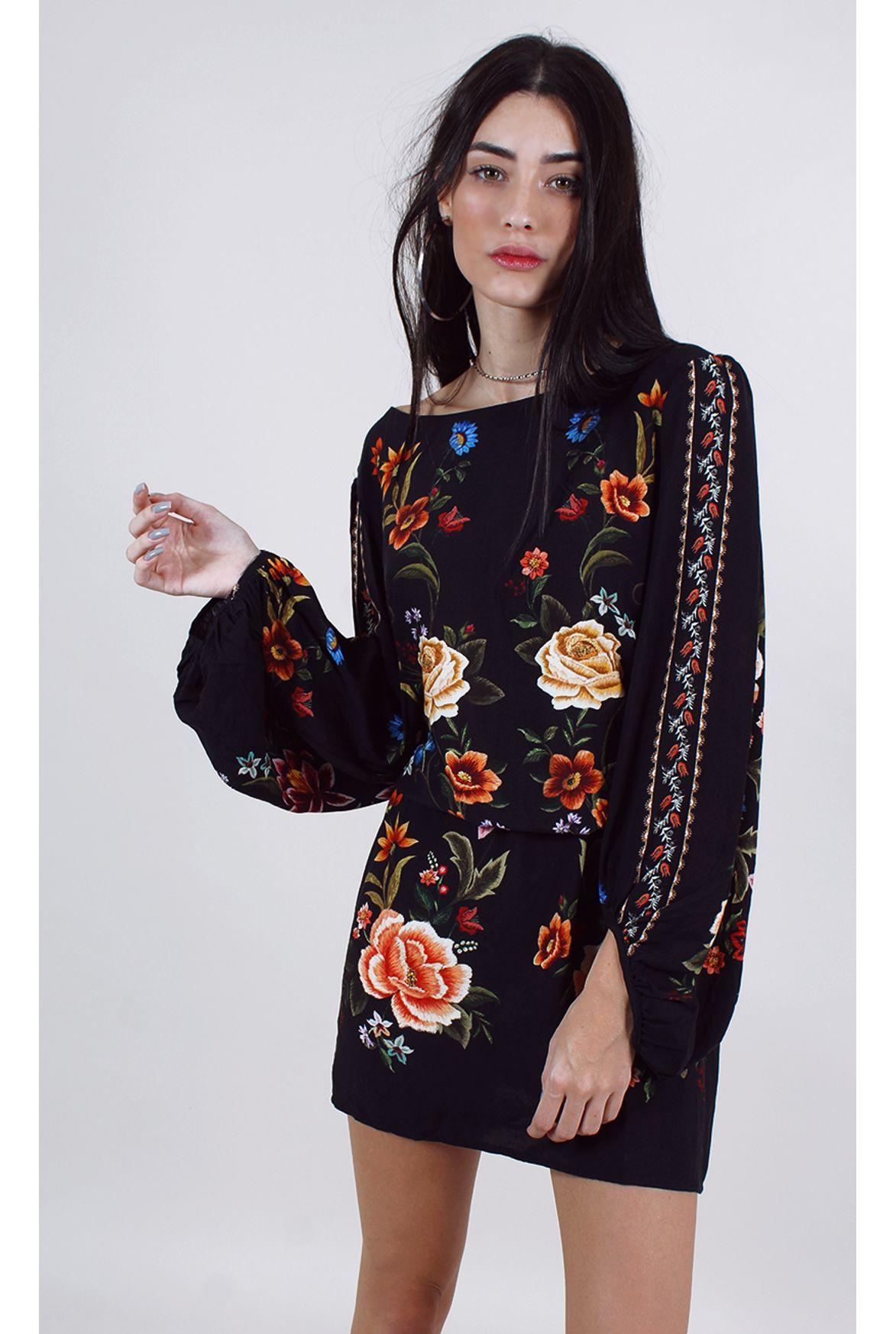 9512b3b65 FSHN - vestido farm curto floral sarah preto - Fashion Closet