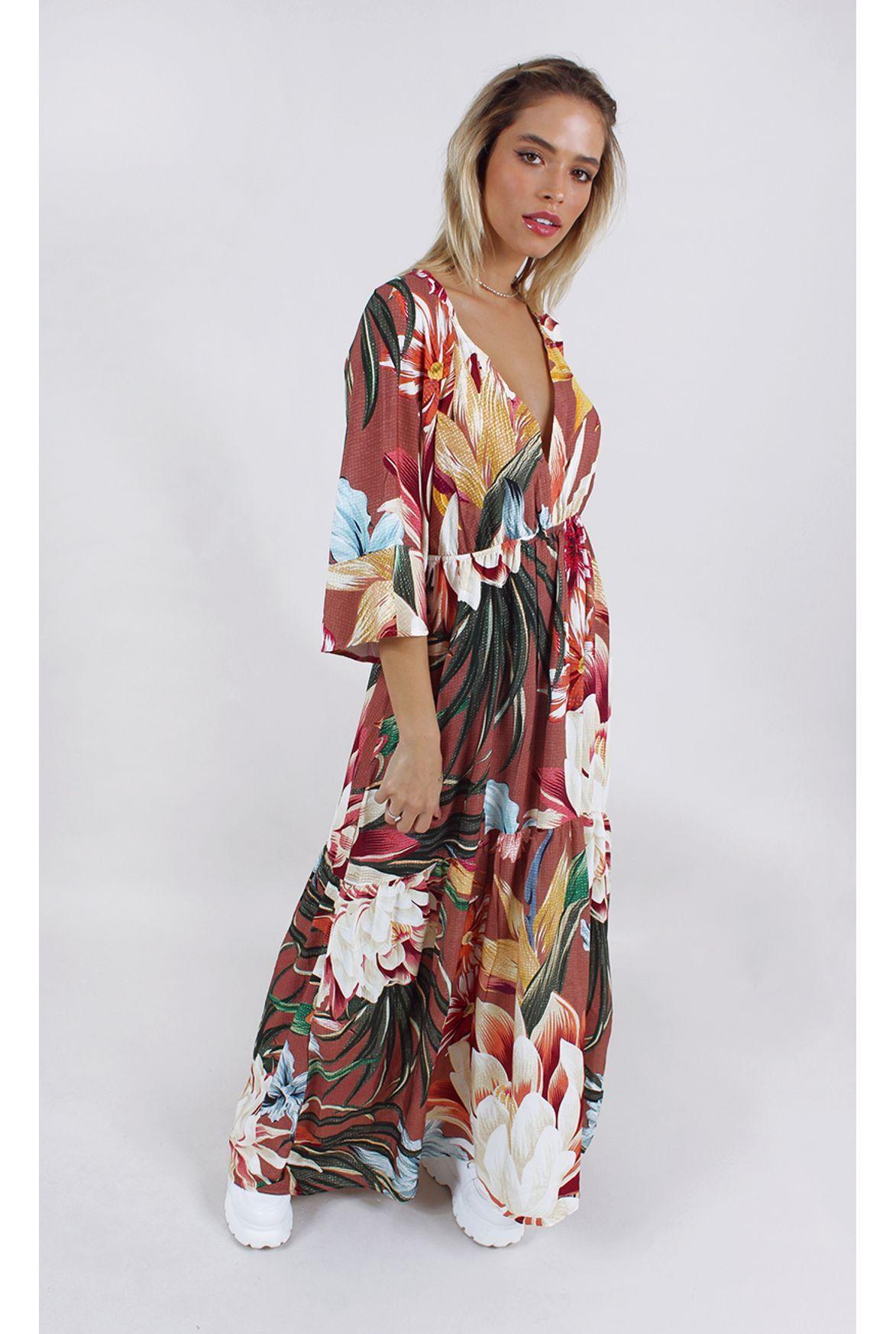 Fshn Vestido Farm Longo Floral Iza Estampa Fashion Closet