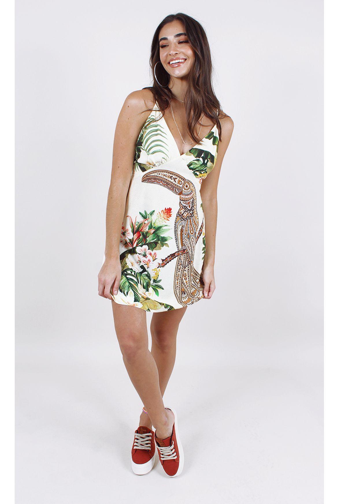 Fshn Vestido Farm Curto Tucano étnico Off White Fashion